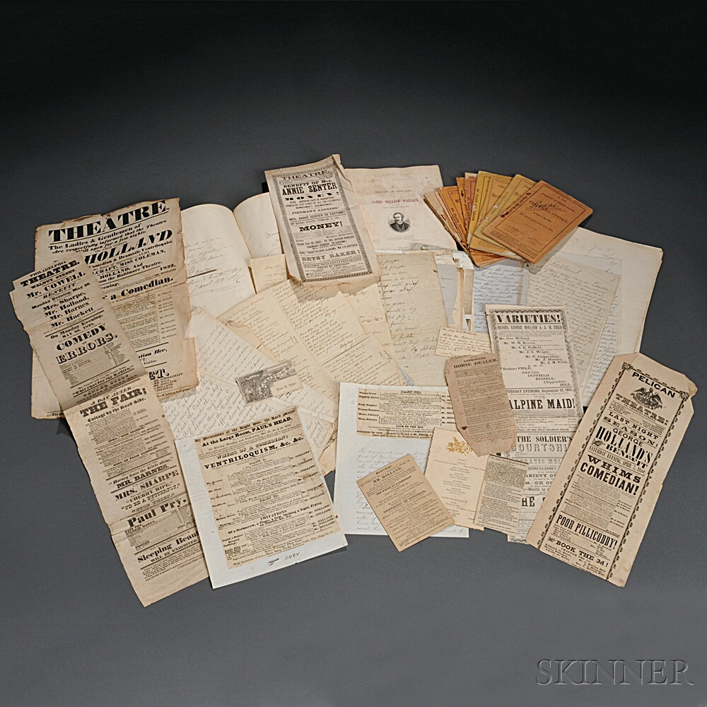 Theatre, Large Archive of Ephemera Related to the Early 19th American Stage.