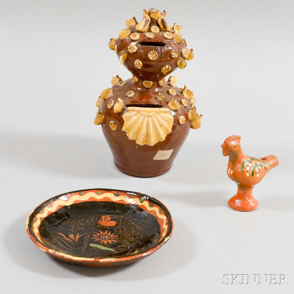 Three Glazed Redware Pottery Items