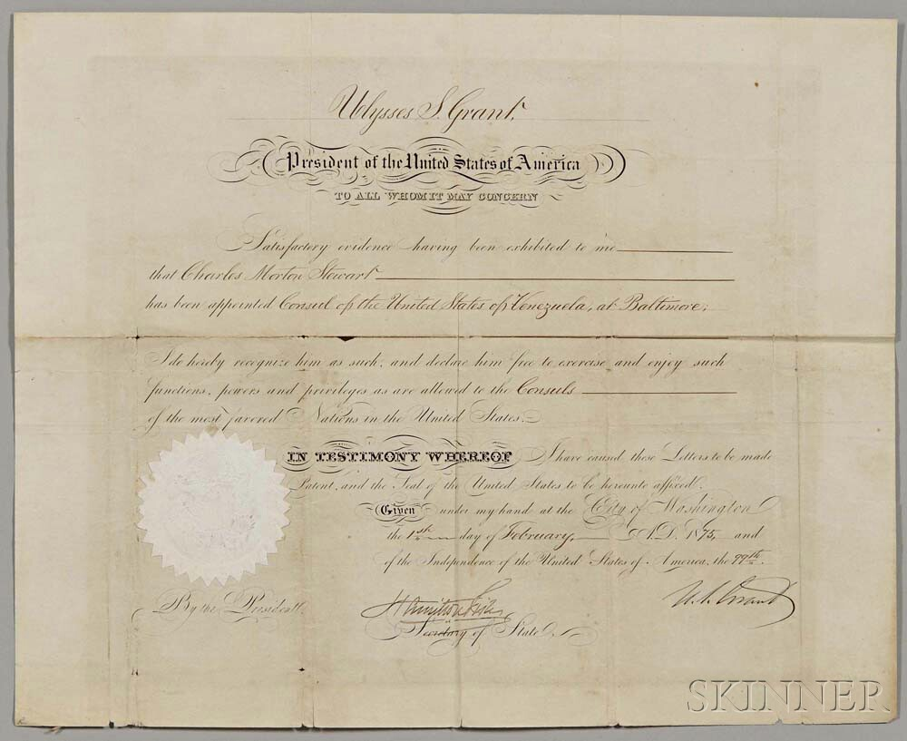 Grant, Ulysses S. (1822-1885) Document Signed, 1 February 1875.
