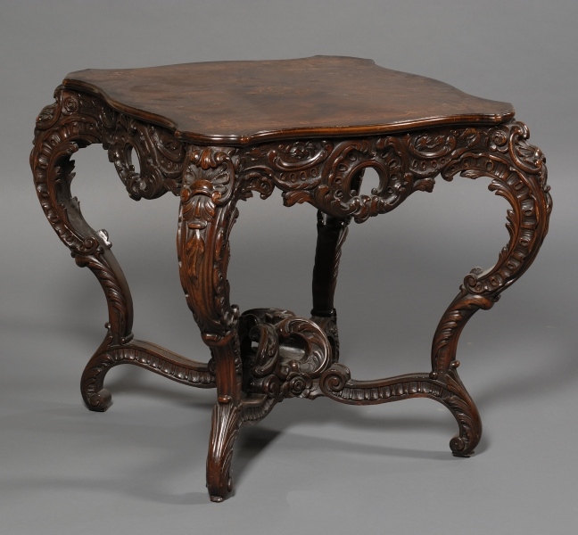 Victorian Inlaid and Carved Walnut Center Table