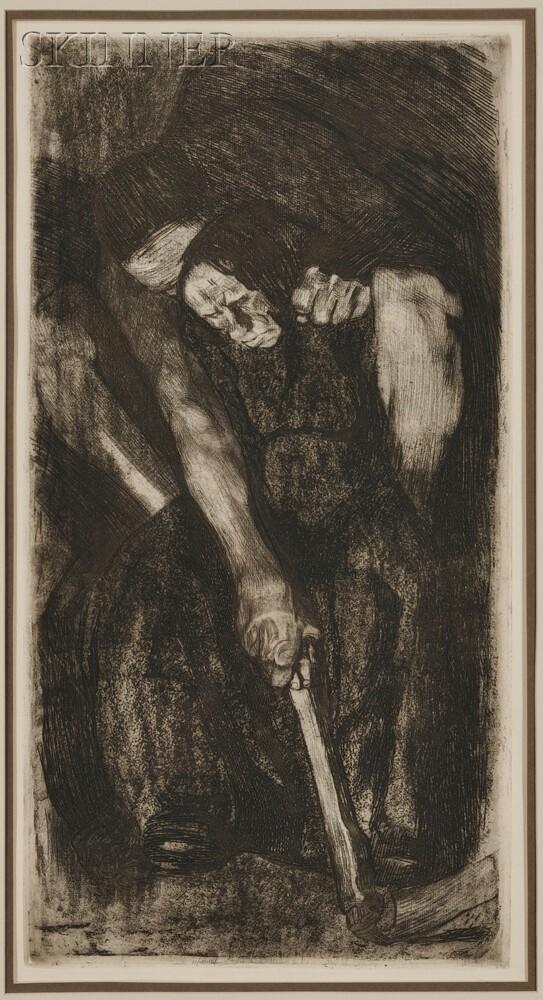 Käthe Kollwitz (German, 1867-1945)      Four Interior Scenes:  Vier Männer in der Kneipe