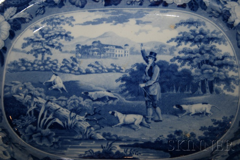 Staffordshire Blue Transfer Printed Earthenware Platter