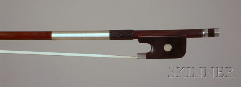 French Silver Mounted Violoncello Bow, Eugene Sartory, c. 1930