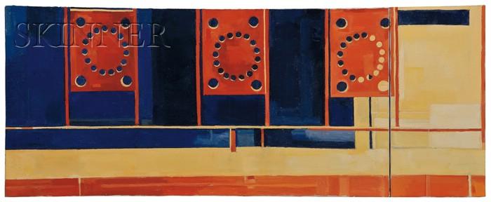 Richard Yarde  (African/American, b. 1939)      Sidewalk  , 1969/A Diptych
