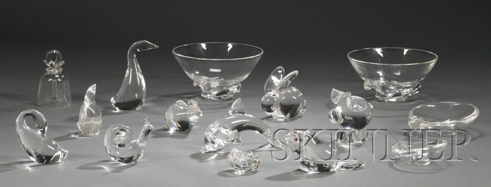 Ten Steuben Glass Figures, Two Bowls, a Bell, and Two Ashtrays