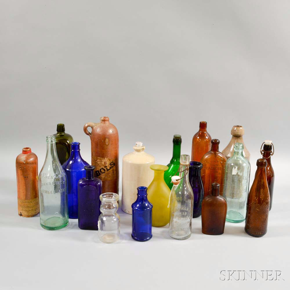 Twenty Glass and Pottery Bottles