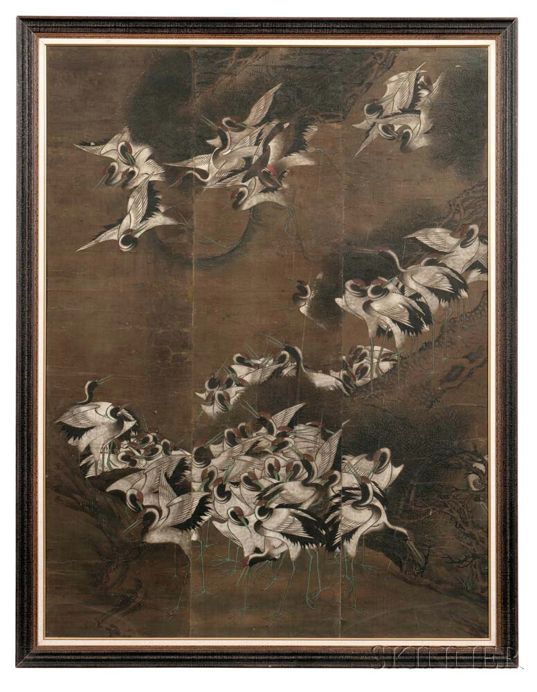 Painting Depicting a Flock of Cranes