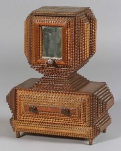 Notch-carved Mirrored Dressing Stand