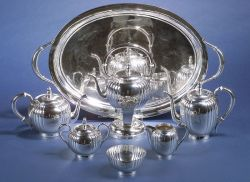 "Six-piece American Sterling Tea and Coffee Service, with ""Royal Danish"" Tea Tray"