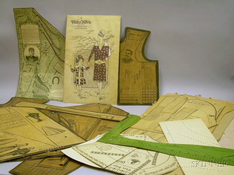 Group of 19th Century Dress Maker's Patterns and a Witco Fabric Sample Card