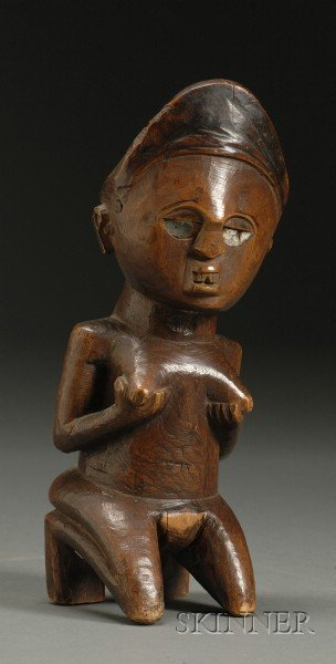 African Carved Wood Female Figure