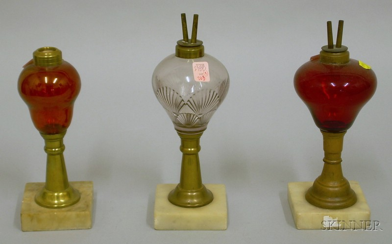 Three Glass, Brass, and Marble Table Lamps