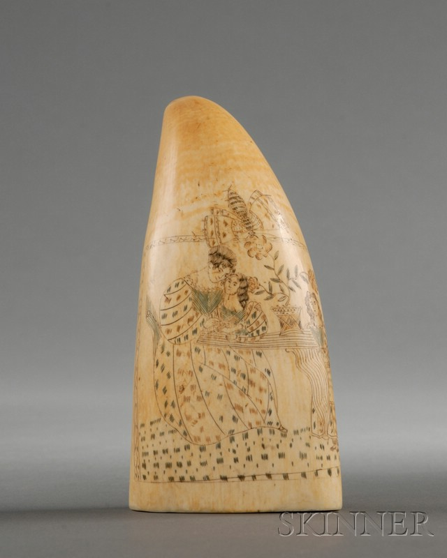 Figural Engraved Whale's Tooth