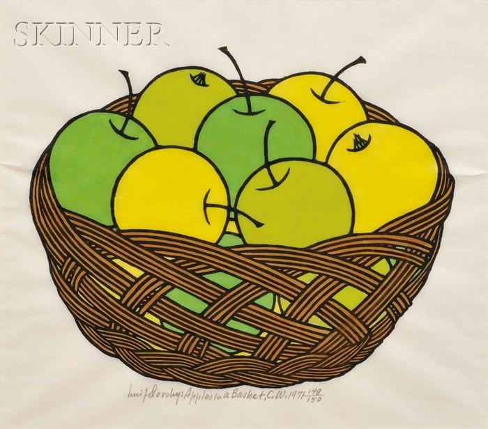 Jacques Hnizdovsky (American/Ukrainian, 1915-1985)      Apples in a Basket