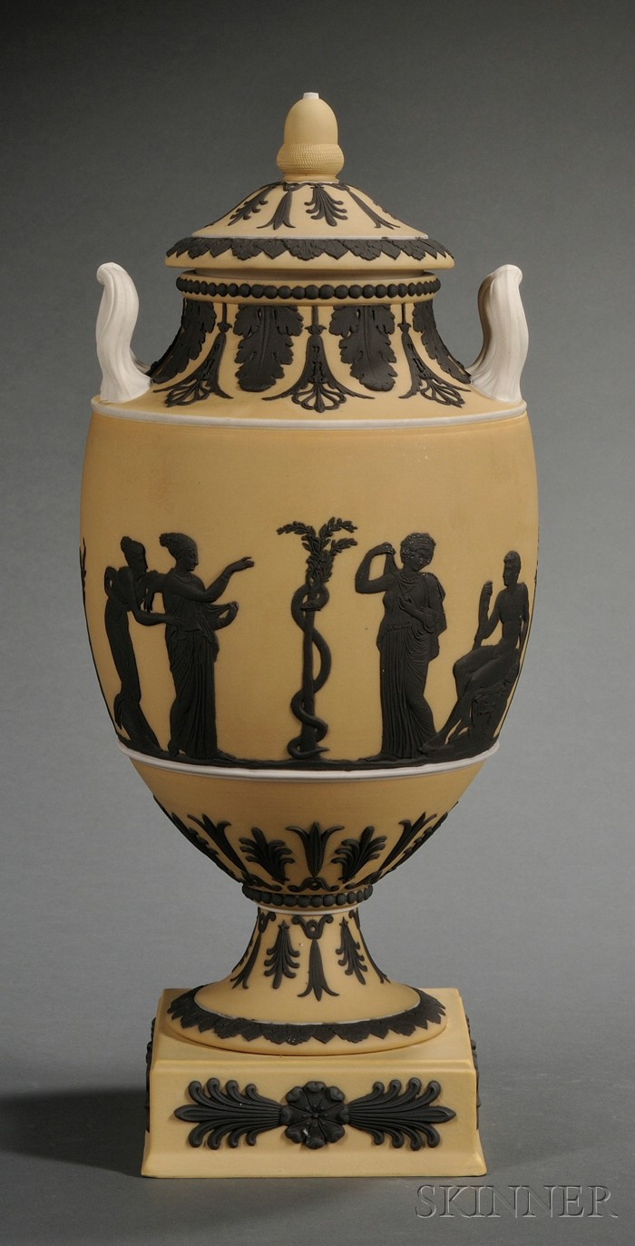 Wedgwood Yellow Jasper Dip Vase and Cover