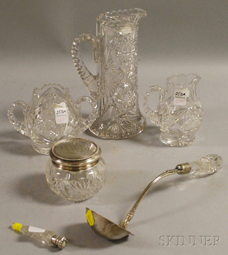Six Assorted Colorless Cut Glass and Sterling Silver-mounted Articles