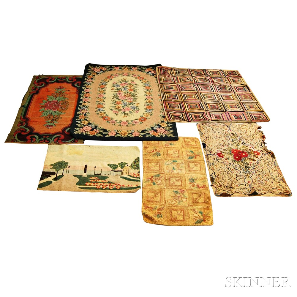 Six Hooked Rugs