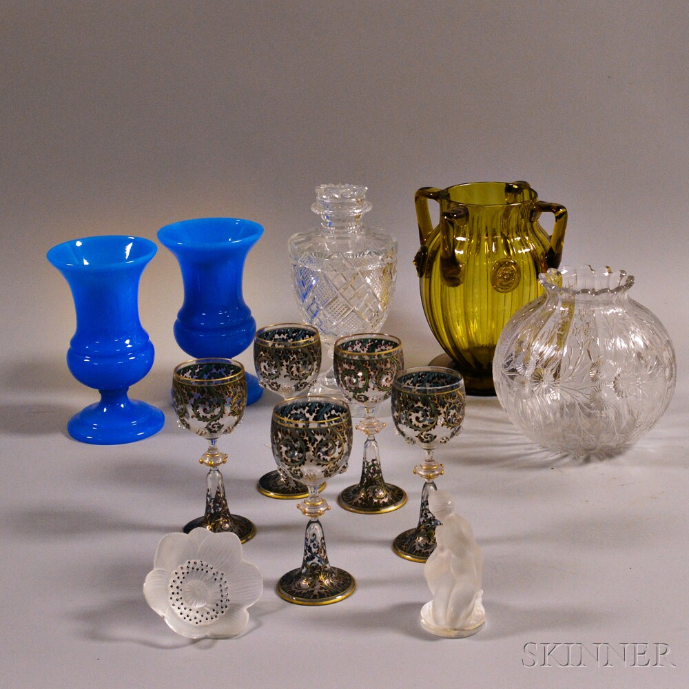 Two Lalique and Ten Other Glass Items