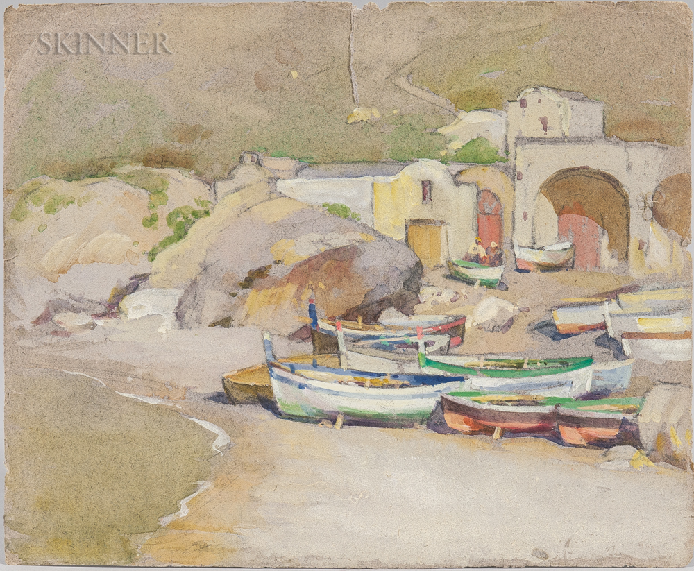 Mabel May Woodward (American, 1877-1945)      Boats on the Beach, Italy