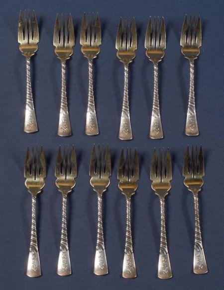 """Twelve Gorham Sterling """"Colonial"""" Fish Forks"""