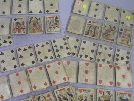 Deck of Fifty-two Reynolds & Sons Printed and Hand-colored Playing Cards