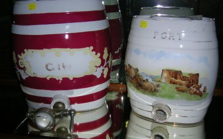 Two British Decorated Ironstone Kegs