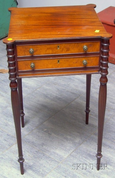 Federal-style Mahogany and Maple Veneer Two-Drawer Work Table.