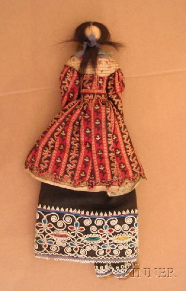Northeast Beaded Cloth Corn Husk Doll and Cradle