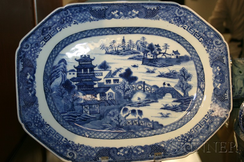 Two Nanking Porcelain Blue and White Serving Dishes
