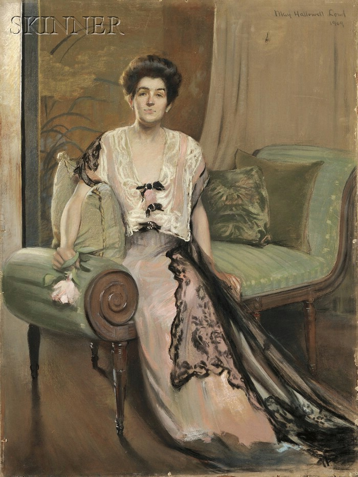 May Hallowell Loud (American, 1860-1916)      Seated Woman in Pink Gown