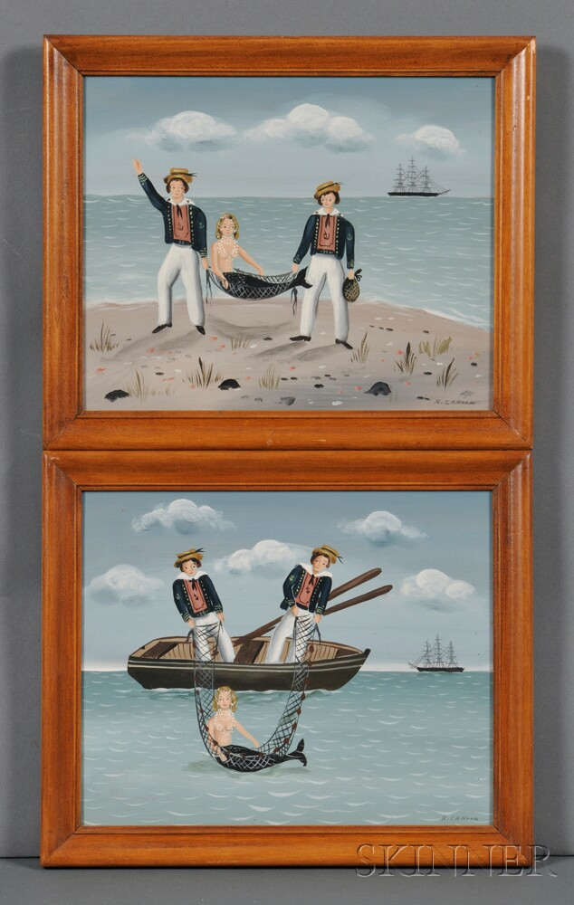 Ralph Eugene Cahoon, Jr. (Cotuit, Massachusetts, 1910-1982)      Two Works: The Catch of the Day.