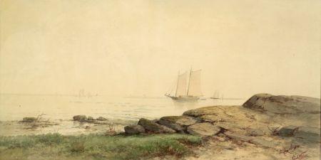 Carl Weber (American, 1850-1921)    Sailing off the Coast
