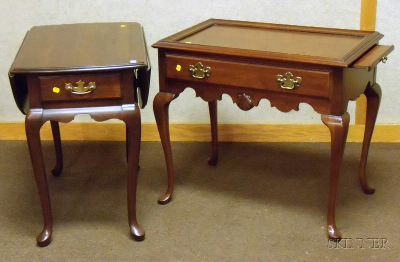 Chippendale-style Carved Cherry Tray-top Table with Long Drawer and a Hammary Queen Anne Style Walnut Drop-leaf...