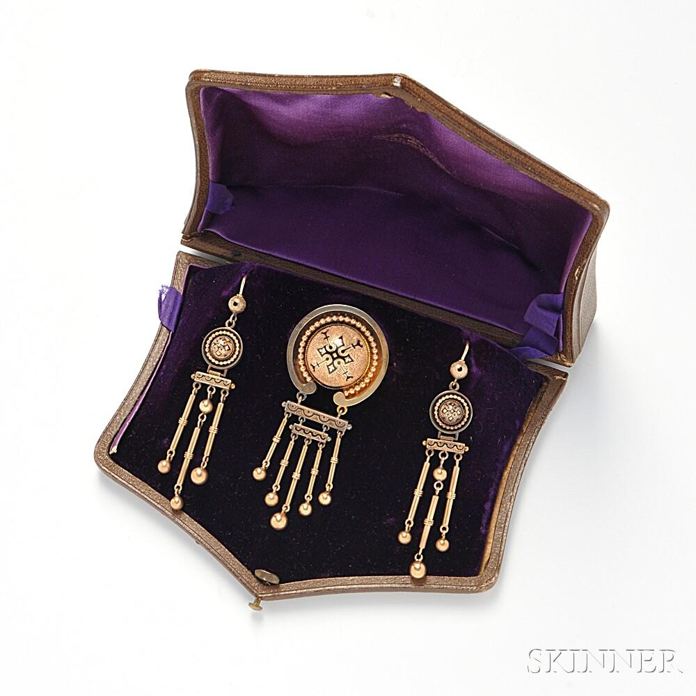 Antique Gold and Enamel Suite