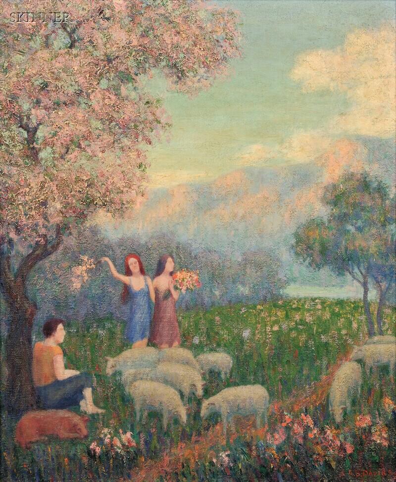 Arthur Bowen Davies (American, 1862-1928)      Shepherdess
