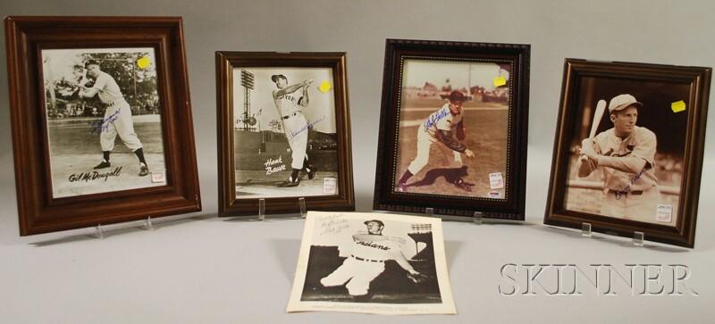 Five Autographed Baseball Player Photographs