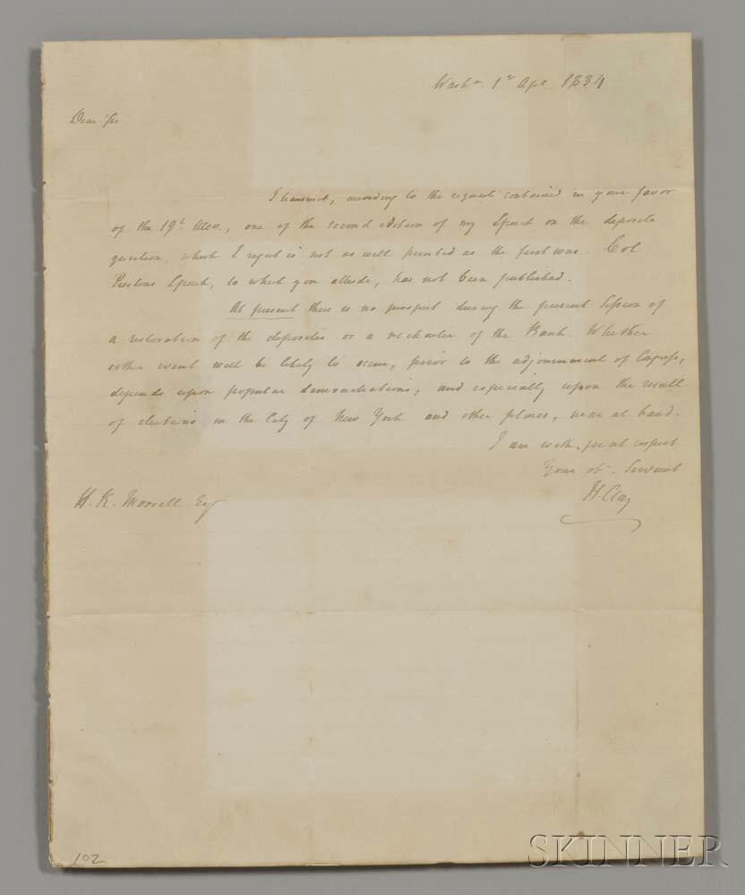 Clay, Henry (1777-1852) Autograph Letter Signed, 1 April 1834.