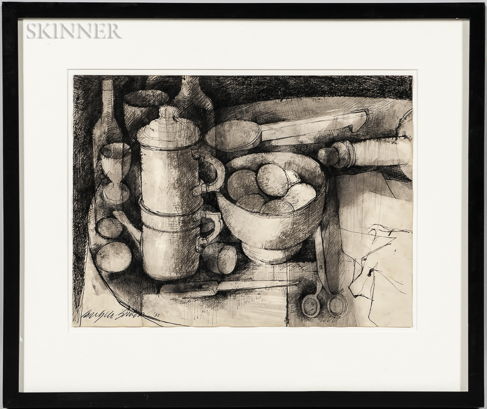 Carlyle Brown (American, 1919-1963)      Still Life with Eggs and Coffeepot