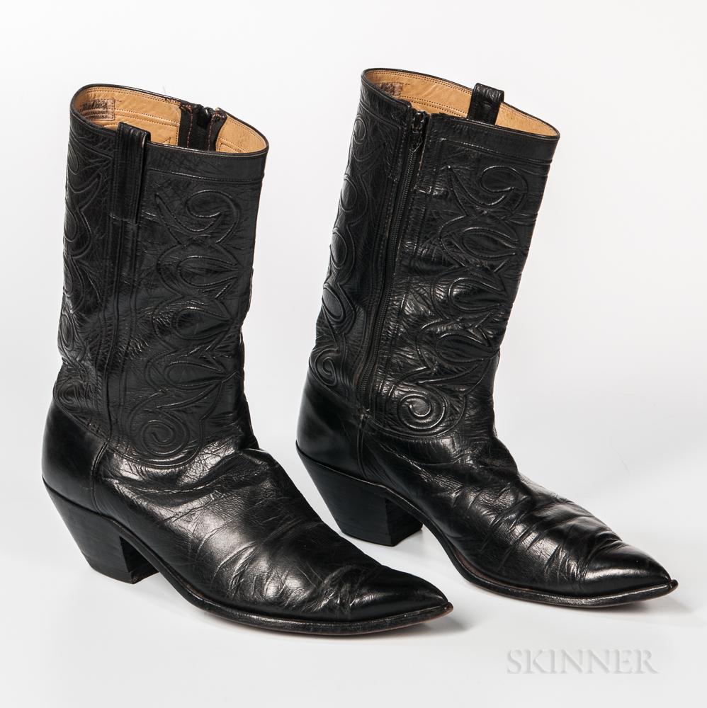 Pair of Black Leather Nudie Cowboy Boots