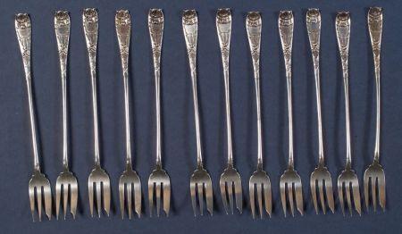 Twelve Gorham Sterling Seafood Forks