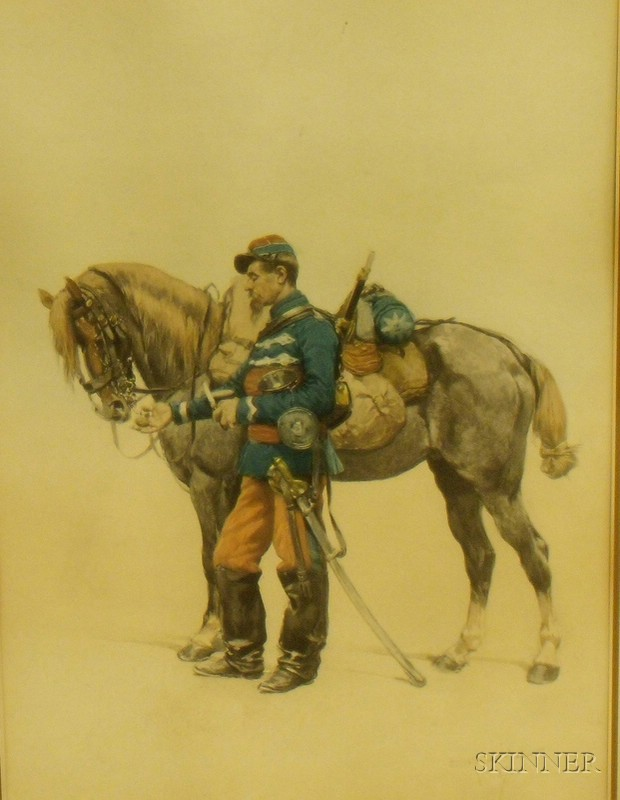 Framed Print of Paper of a Soldier and Horse After Edward Jean Baptiste Detaille   (French, 1848-1912)