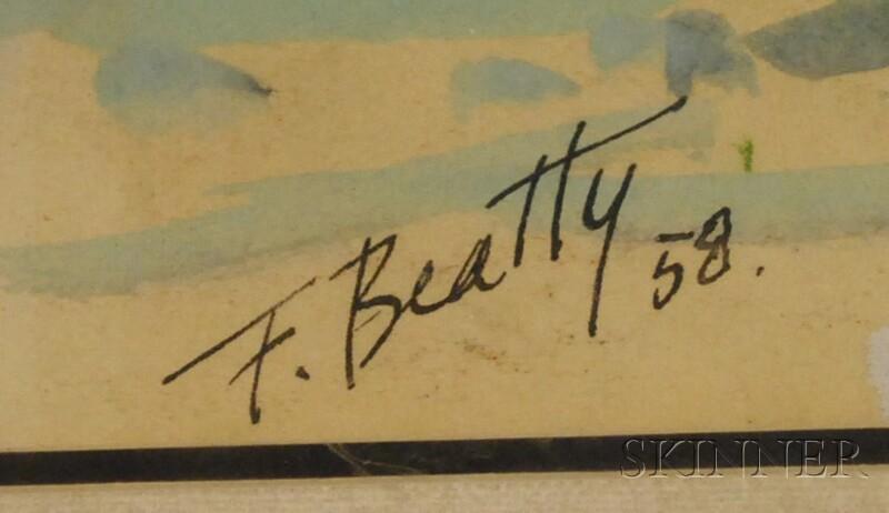 Frank T. Beatty (American, 1899-1984) Seven Framed Pastels on Paper: Marina, Nassau House, Bahamas, Fishing Dock & Ship, Boston, Pewter