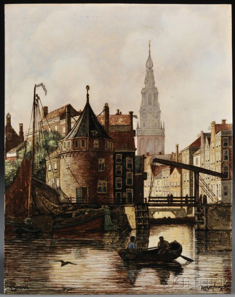 Rozenburg den Haag Hand-painted Porcelain Plaque