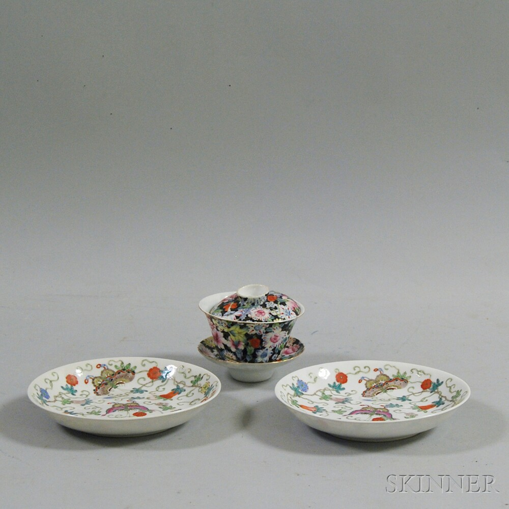 Pair of Chinese Famille Rose Dishes and a Cup and Saucer