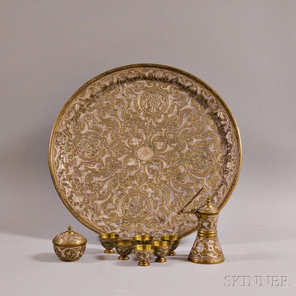 Nine Turkish Engraved Brass Items