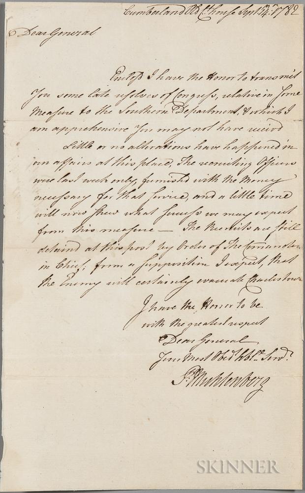 Muhlenberg, Peter (1746-1807) Secretarial Letter Signed, Cumberland, Old Courthouse, 14 September 1782.