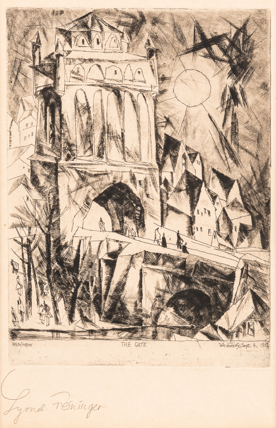 Lyonel Feininger (German/American, 1871-1956)      The Gate (Das Tor)