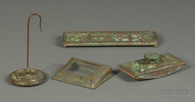 Group of Tiffany Studios Patinated Bronze and Green Slag Glass Grapevine Pattern   Desk Articles