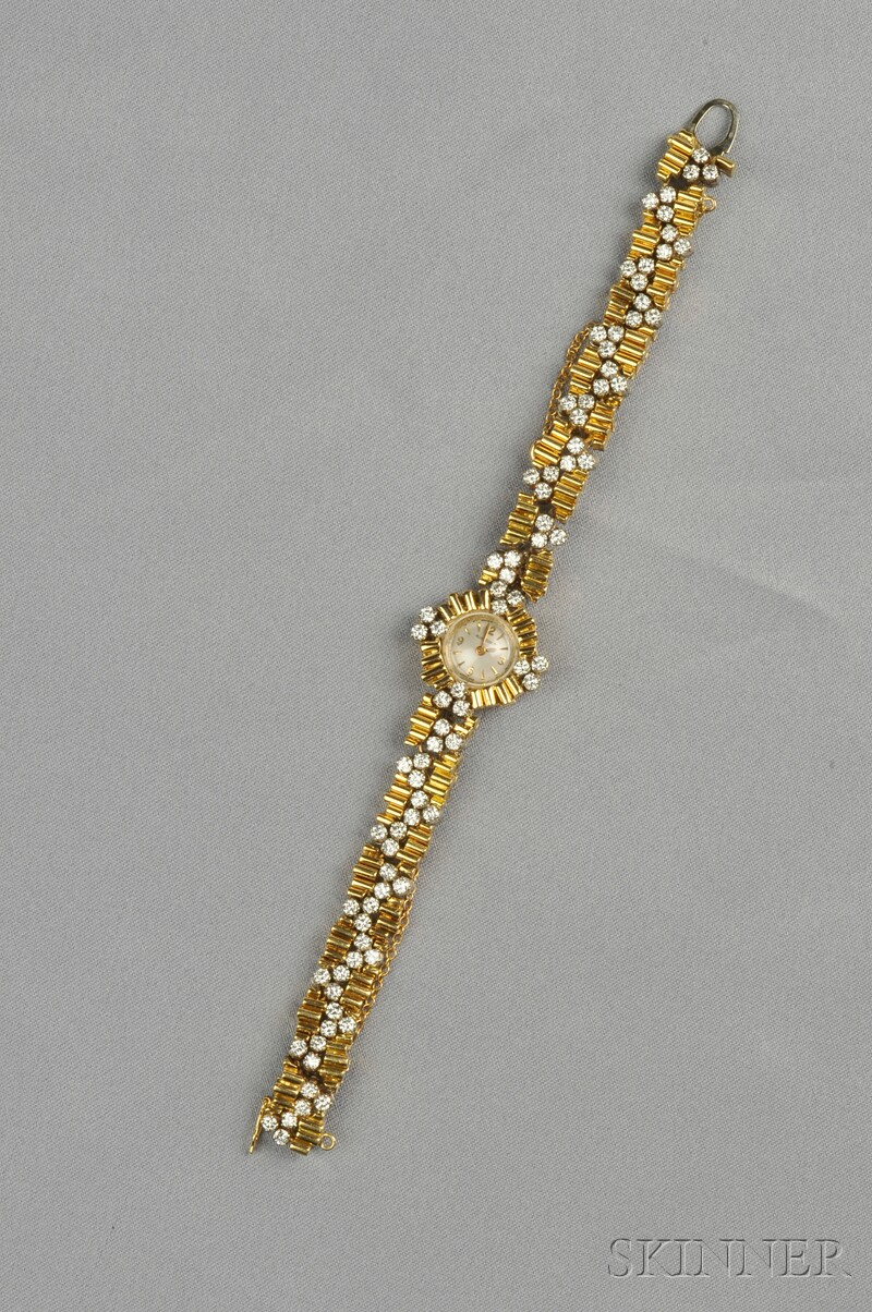 18kt Gold and Diamond Wristwatch, Jaeger LeCoultre