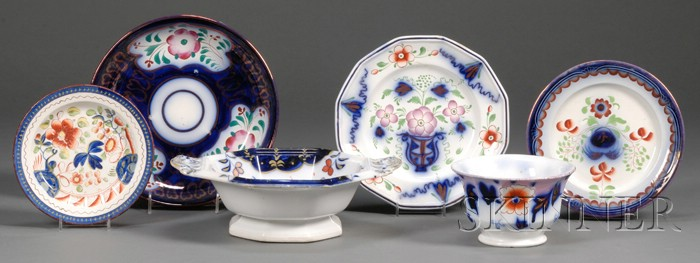 Six Gaudy Welsh-type Pottery Table Items
